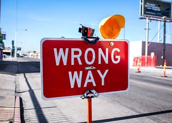 Wrong way sign on a freeway